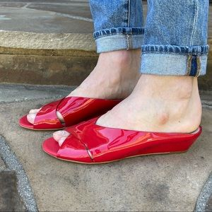 AGL red patent leather slide sandals